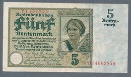 Pick169 5 Rentenmark 1926 VF++ - [ 3] 1918-1933 : Repubblica  Di Weimar