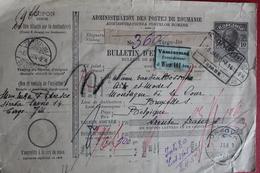 1914 - BULLETIN EXPEDITION DE TARGU JUI POUR BRUXELLES   CACHETS DE :  ORSOVA  /  VIENNE  /  COLOGNE - 1881-1918: Charles Ier