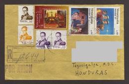 Venezuela, Cover Sent Barquisimeto-Tegucigalpa With Christmas Stamps, Simon Bolivar, Conmemorative Jose Gregorio, 1997 - Venezuela