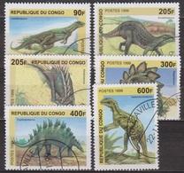 Animaux Préhistoriques - Dinosaures - CONGO - Stégosaure -  - N° 1670 à 1675 - 1999 - Congo - Brazzaville