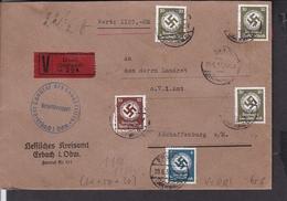 Dienstmarken Deutsches Reich Wertbrief Stempel Erbach Nach Aschaffenburg 1939 - Germany