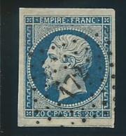 FRANCE: Obl., N° YT 14A, Bleu, PC 172, TB - 1853-1860 Napoléon III.