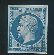 FRANCE: Obl., N° YT 14Bb, Bleu Sur Lilas, Signé JF Brun, TB - 1853-1860 Napoléon III
