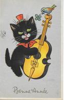 1 CPA  Bonne Année Chat Violoncelle Trèfle 1949 - Nouvel An