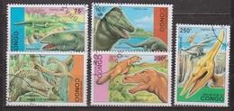 Animaux Préhistoriques - Dinosaures - CONGO - Brachiosaure, Tyrannosaure, Pteranodon - N° 1398 à 1402 - 1993 - Congo - Brazzaville