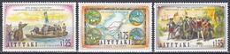 Aitutaki 1992 Geschichte History Entdeckungen Discovery Amerika Kolumbus Columbus Seekarten Maps Boote, Mi. 702-4 ** - Aitutaki