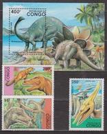 Animaux Préhistoriques - Dinosaures - CONGO - Brontosaure, Archeopteryx, Tyrannosaure, Pteranodon, Stégosaure ** - 1993 - Congo - Brazzaville