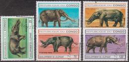 Animaux Préhistoriques - CONGO - Développement De L'éléphant Au Cours Des Ages - N° 990a à 990d - 1994 - Congo - Brazzaville