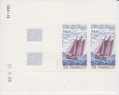 TAAF 1987 J.B. Charcot / Sailing Ship 1v  Pair (margin, Printing Date)** Mnh (TA210B) - Ongebruikt