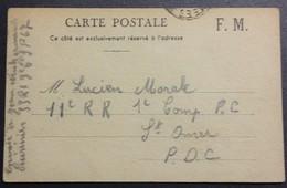 Carte De Franchise Militaire Cuisinier 33e Régiment D'Infanterie Vers 11e Régiment Régional Saint-Omer Nov 1939 - Marcophilie (Lettres)