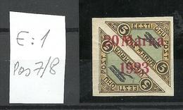 Estland Estonia 1923 Michel 44 Ba ERROR Abart E: 1 * - Estland