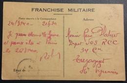 Carte De Franchise Militaire Vers 503e RCC Tuzaguet Hautes Pyrénées - Marcophilie (Lettres)