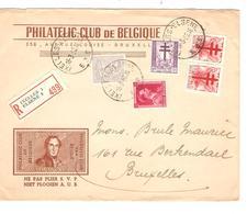 SJ43/ TP 871-872(2) Surtaxe 849-528 Léopold Col Ouvert S/L.Recommandée C.Ixelles 18/3/52 V.BXL - Covers & Documents