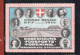 1913. KØBENHAVNS FODSPORTS- FORENING. K.F.F. DANSKE MESTRE KFF 1913. - Erinnophilie