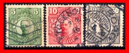 SUECIA .. SVERIGE (EUROPA ) 3 SELLOS DE SERIE  AÑO 1911- 1919 KING GUSTAF V - Suecia