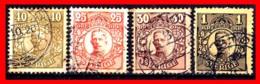 SUECIA .. SVERIGE (EUROPA ) 4 SELLOS DE SERIE  AÑO 1911- 1919 KING GUSTAF V - Suecia