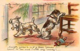 CPA.  Illustrateur Germaine Bouret.  Petits Chiens.  Cache Cache - Bouret, Germaine