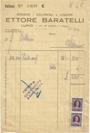 LAGO   MAGGIORE--FATTURA  LUINO--  ETTORE  BARATELLI  DROGHE  COLONIALI  E  LIQUORI 1946 - Italie