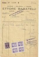 LAGO   MAGGIORE--FATTURA  LUINO--  ETTORE  BARATELLI  DROGHE  COLONIALI  E  LIQUORI 1946 - Italia
