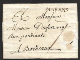 Charente Infre-Lettre Avec Marque MARANS-Lenain N°2-Pour Bordeaux-1762 - Marcophilie (Lettres)