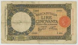 Banca D'Italia . 50 Lire 1933 . - [ 1] …-1946 : Royaume
