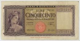 Italia . 500 Lire 1947 . - [ 2] 1946-… : République