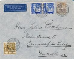 Nederlands Indië - 1936 - Mixed Franking Op LP_cover Van PV1 PANGKALANBRANDAN Naar Cainsdorf / Deutschland - Niederländisch-Indien