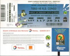 Football.Match TOGO Vs RD CONGO,Ticket Coupe D'Afrique Des Nations Au Gabon, Stade De Port-Gentil. 24 01  2017,etat Neuf - Togo (1960-...)