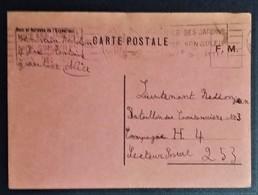 Carte De Franchise Militaire Carton Rose De Nice Vers Bataillon De Cantonniers N°3 Décembre 1939 - Marcophilie (Lettres)