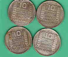 10 F Turin Argent  1930,31,33x2  (4 Pièces) - France
