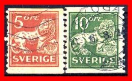 SUECIA .. SVERIGE (EUROPA ) 2 SELLOS DE SERIE  AÑO 1920- 1924 STANDING LION - Suecia