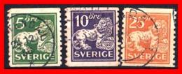 SUECIA .. SVERIGE (EUROPA ) 3 SELLOS DE SERIE  AÑO 1920- 1924 STANDING LION - Suecia