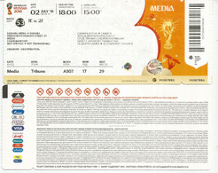 RUSSIA 2018.  Ticket VIP Media MEXICO-BRAZIL 2 July 2018  Cosmos Arena SAMARA. Mexico 0-Brazil 2. - Tickets D'entrée