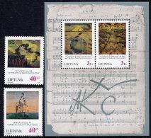 LITHUANIA 1996 Ciurlionis Paintings Set Of 2 + Block MNH / **. Michel 617-18, Block 7 - Lituanie