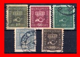 SUECIA .. SVERIGE (EUROPA ) 5 SELLOS SERIE AÑO 1920 CROWN AND COACH HORN - Suecia