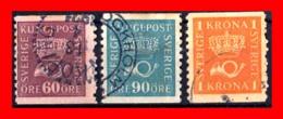 SUECIA .. SVERIGE (EUROPA ) 3 SELLOS  AÑO 1920 CROWN AND COACH HORN - Suecia