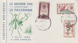 Enveloppe  FDC  1er  Jour   TUNISIE    Eradication  Du  Paludisme  Malaria   1962 - Maladies