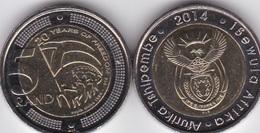 South Africa - 5 Rand 2014 UNC 20 Years Freedom Bimetall Lemberg-Zp - Afrique Du Sud