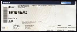 Croatia Zagreb 2017 / Bryan Adams / Music, Concert / Arena / Entry Ticket - Tickets - Vouchers