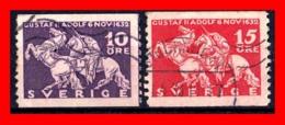 SUECIA .. SVERIGE (EUROPA ) 2 SELLOS AÑO 1932 THE 300TH ANNIVERSARY OF THE DEATH OF KING GUSTAV II ADOLF - Suecia