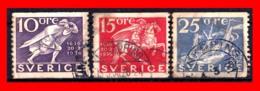 SUECIA .. SVERIGE (EUROPA ) 3 SELLOS AÑO 1936 THE 300TH ANNIVERSARY OF THE POST OFFICE - Suecia