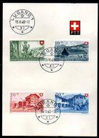 Schweiz Suisse Pro Patria 1948: Zu 38-41 Mi 508-511 Yv 457-460 Auf PTT-Blatt Mit ET-o LUGANO 15.VI.48 (Zu CHF 175.00) - FDC
