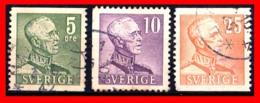 SUECIA .. SVERIGE (EUROPA ) 3 SELLOS AÑO 1939-1942 KING GUSTAF V - Suecia