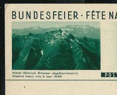 Carte Fête Nationale  1933 N° 76 - 09  Kärpf 'Glarus) Ältester Jagdbannbezirk   ( Neuve) - Entiers Postaux