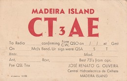 Rare Carte Radio Amateur Iles De Madère - Radio Amateur
