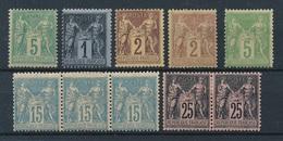 """CP-181: FRANCE: Lot Avec """"SAGE"""" Neufs* N°75-83-85(2)-90 (bande De 3 Dont 2**) -97 (paire) - 1876-1898 Sage (Type II)"""
