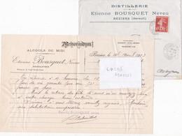 Alcools Du Midi Distillerie Etienne Bousquet Béziers (Hérault) 1913 - Factures