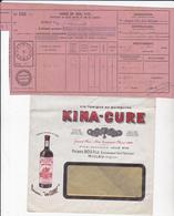 Vin Tonique KINA-CURE  Pierre Bos Fabricant Millau (Aveyron) Enveloppe+ étiquette + Congé 1941  - 2 Scans - - Factures