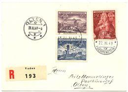 Nr. 281 - Nr. 283 Einschreiben 1949 Nach Olten - Liechtenstein