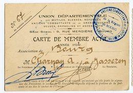 Carte Membre Actif 1922 Union Departementale MUTILE Blessé Ancien Combattant Grande Guerre 14-18 BOURG CHARNAY Jasseron - Old Paper